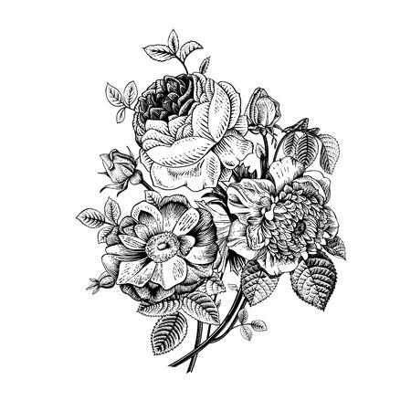 blanco: Tarjeta floral. Ramo de rosas, escaramujo y anémona. Ilustración vectorial de la vendimia. Classic. Blanco y negro.