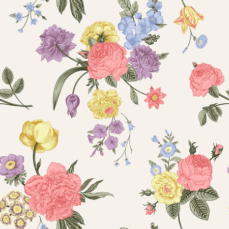 Seamless vector pattern with victorian bouquet of pastel flowers seamless vector pattern with victorian bouquet of pastel flowers on a gray background coral mightylinksfo