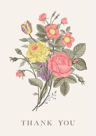 꽃 카드입니다. 장미, 튤립, 개 로즈와 말미잘의 꽃다발입니다. 빈티지 벡터 일러스트 레이 션. 클래식. 파스텔 색상. 감사합니다!