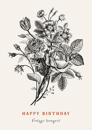 dogrose: Floral card. Bouquet of roses, tulip, dog-rose and anemone. Vintage vector illustration. Classic. Black and white. Happy Birthday!