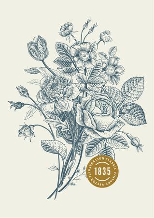 dog rose: Floral card. Bouquet of roses, tulip, dog-rose and anemone. Vintage vector illustration. Classic. Illustration