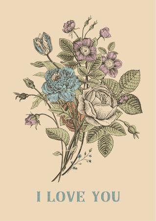 花カード。アネモネ犬ローズ、チューリップ バラの花束。ビンテージ ベクトル イラスト。古典的な。愛しています!