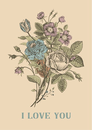 Floral card. Bouquet of roses, tulip, dog-rose and anemone. Vintage vector illustration. Classic. I Love You!