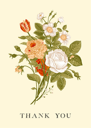 Floral card. Bouquet of roses, tulip, dog-rose and anemone. Vintage vector illustration. Classic. Bright color. Thank you!