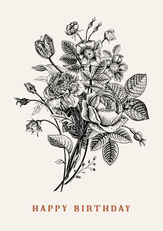 dog rose: Floral card. Bouquet of roses, tulip, dog-rose and anemone. Vintage vector illustration. Classic. Black and white. Happy Birthday!