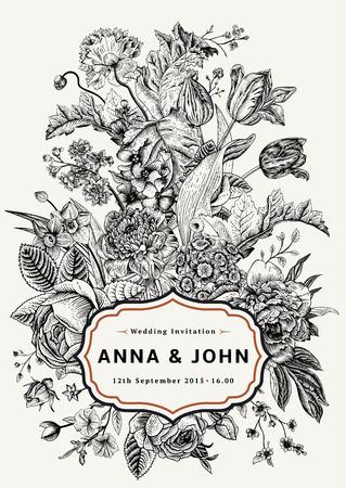 cartoline vittoriane: Invito a nozze verticale. Scheda dell'annata con i fiori del giardino. Vettore bianco e nero con una cornice d'oro.