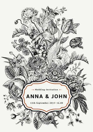 flowers: Vertical wedding invitation. Vintage card with garden flowers. Black and white vector with a gold frame.
