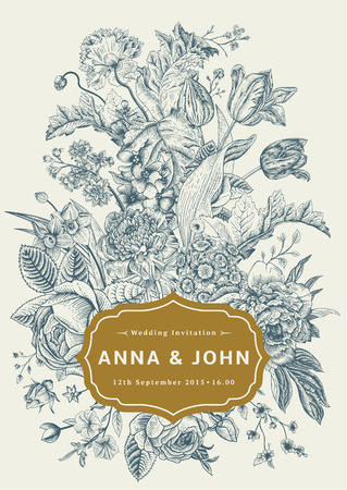 Vertical wedding invitation. Vintage greeting card with gardenl flowers. Blue vector flowers with a gold frame.