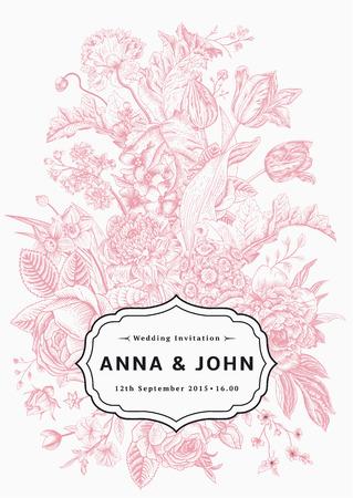 垂直方向の結婚式の招待状。庭の花を持つヴィンテージのカード。ピンクのベクトル花、黒のフレーム。  イラスト・ベクター素材