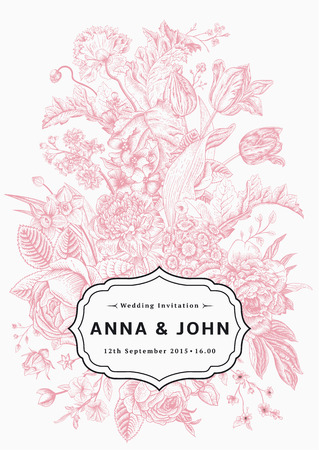 Vertical wedding invitation. Vintage card with garden flowers. Pink vector flowers with a black frame.