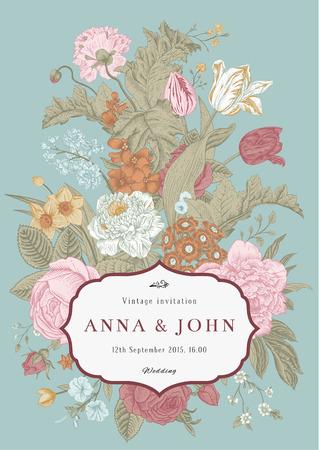 vertical garden: Vector vertical vintage floral wedding invitation card with frame of colorful garden flowers on mint background.