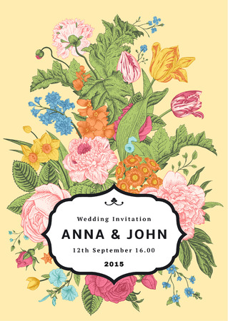 Vertical invitation. Vintage wedding card with colorful flowers on yellow background. Vector illustration. Classic. Bright color.