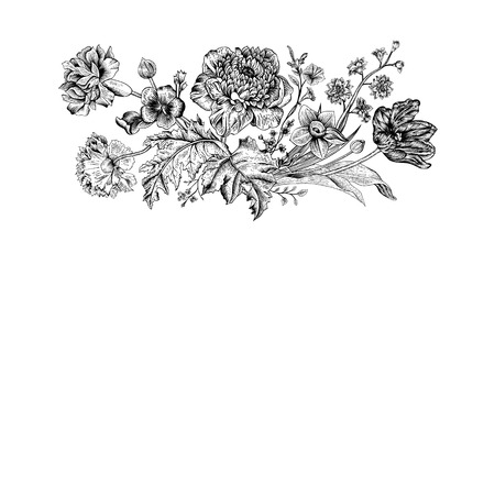 Floral spring card. Bouquet of tulip, poppy and anemone. Vintage vector illustration. Classic. Black and white. Ilustração