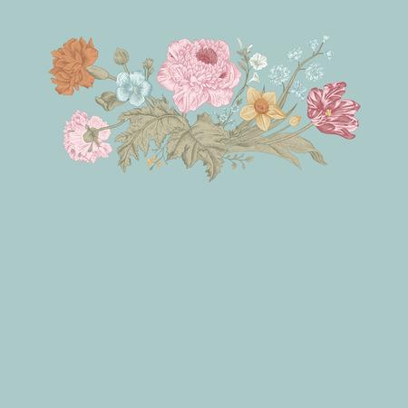 花カード。アネモネとポピー チューリップの花束。ビンテージ ベクトル イラスト。古典的な。ミント色。  イラスト・ベクター素材