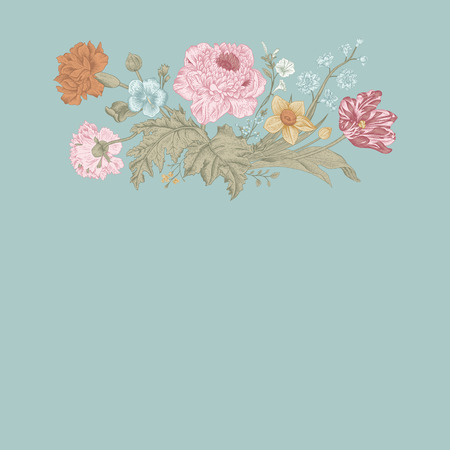 Floral card. Bouquet of tulip, poppy and anemone. Vintage vector illustration. Classic. Mint color.