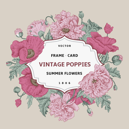 Vintage floral frame with pink poppies on a beige background. Vector illustration.