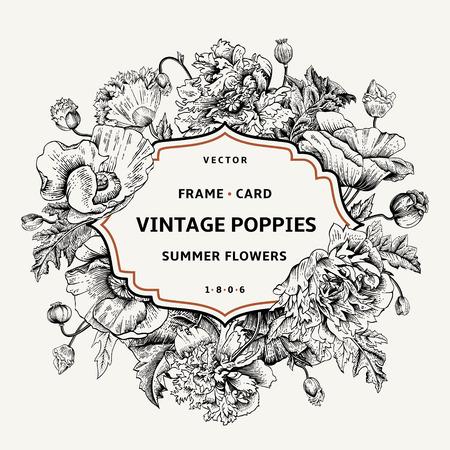 cartoline vittoriane: Vintage cornice floreale con papaveri. Illustrazione vettoriale. Bianco e nero. Vettoriali