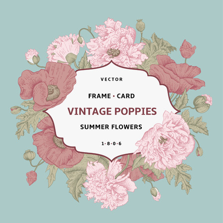Vintage floral frame with pink poppies on a mint background. Vector illustration.
