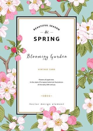 Vintage vector vertical card spring. Branch of apple tree blossoms pink flowers on mint background. Illustration