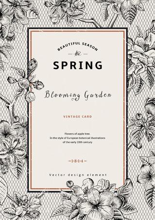 빈티지 수직 봄 카드. 사과 나무 꽃의 분기. 흑백 벡터 일러스트 레이 션. 레이스 배경입니다.