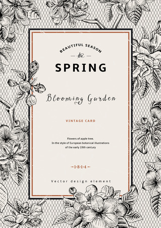 Vintage verticale voorjaar kaart. Tak van de appelboom bloeit. Zwart-wit vector illustratie. Lace achtergrond. Stock Illustratie