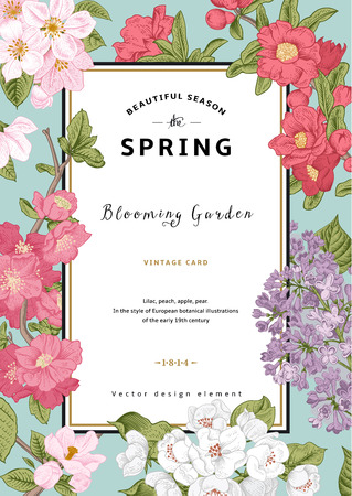 botanical: Vintage vector vertical card spring. Blooming branches of lilac, peach, pear, pomegranate, apple on mint background. Illustration
