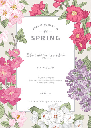 Vintage vector vertical card spring. Blooming branches of lilac, peach, pear, pomegranate, apple on gray background.