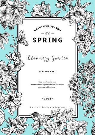 ビンテージ ベクトルの縦型カードの春。黒と白のライラック、桃、梨、ザクロ、アップル ミント背景上の開花枝。