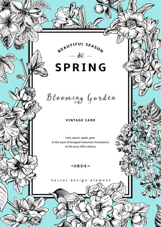 peach blossom: Vintage vector vertical card spring. Black and white blooming branches of lilac, peach, pear, pomegranate, apple on mint background.