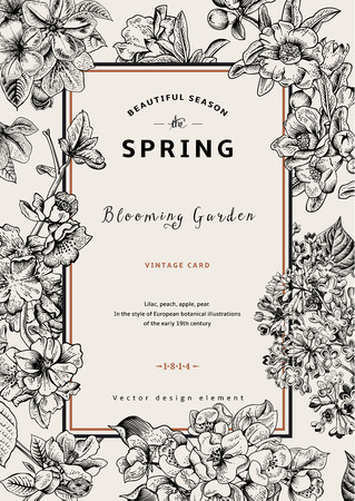 botanical drawing: Vintage vector vertical card spring. Black and white blooming branches of lilac, peach, pear, pomegranate, apple tree.