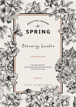 Vintage vector verticale kaart voorjaar. Zwart en wit bloeiende takken van lila, perzik, peer, granaatappel, appelboom.