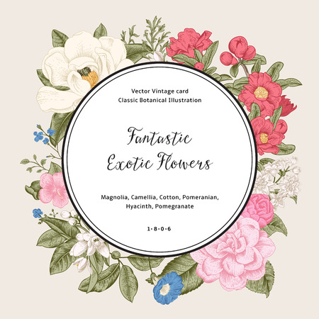 Wreath with exotic flowers. Magnolia, camellia, hyacinth, pomegranate on gray background. Vector Vintage card.