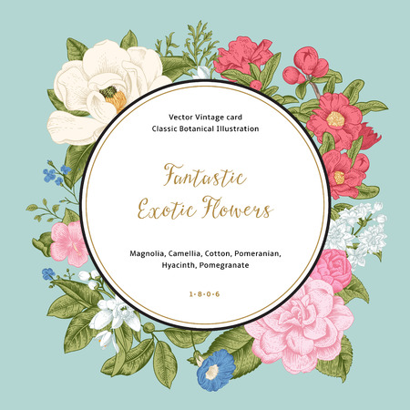 Wreath with exotic flowers. Magnolia, camellia, hyacinth, gnanat on mint background. Vector Vintage card.