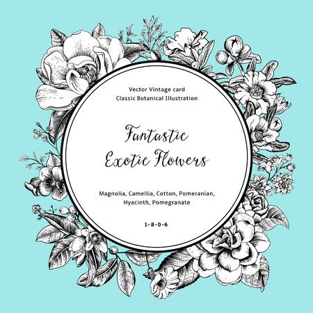 이국적인 꽃 화환. 검은 색과 흰색 목련, 동백, 히아신스, 민트 배경에 석류. 벡터 빈티지 카드입니다. 일러스트