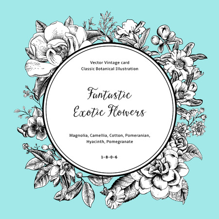Wreath with exotic flowers. Black and white magnolia, camellia, hyacinth, pomegranate on mint background. Vector Vintage card. Çizim