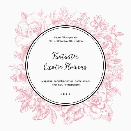 이국적인 꽃 화환. 핑크 목련, 동백, 히아신스, 흰색 배경에 석류. 벡터 빈티지 카드입니다.
