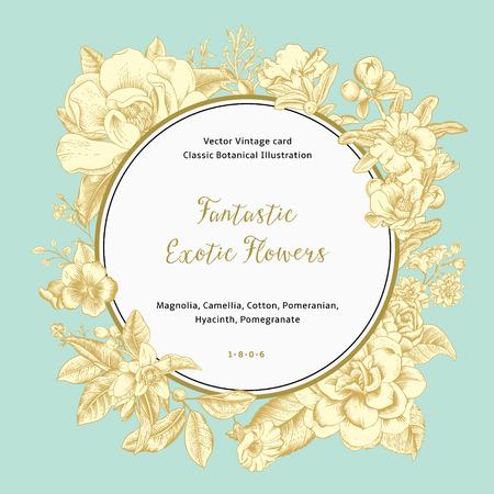 이국적인 꽃 화환. 골드 목련, 동백, 히아신스, 민트 배경에 석류. 벡터 빈티지 카드입니다.
