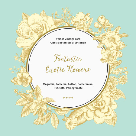 a pomegranate: Wreath with exotic flowers. Gold magnolia, camellia, hyacinth, pomegranate on mint background. Vector Vintage card.