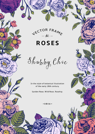 victorian: Vintage vector frame. Garden and wild roses. In the style of an old botanical illustration. Colorful.