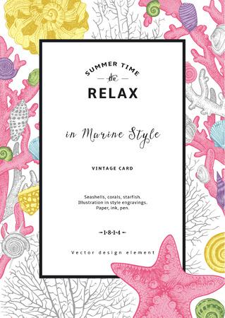 おくつろぎください。夏の残り。ヴィンテージのカード。貝殻やサンゴ、ヒトデのあるフレーム。海スタイルのベクトル図です。