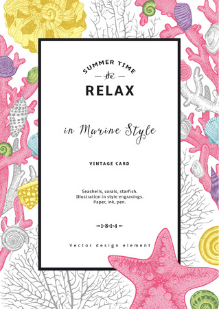 Relax. Summer rest. Vintage card. Frame with seashells, coral and starfish. Vector illustration in sea style.