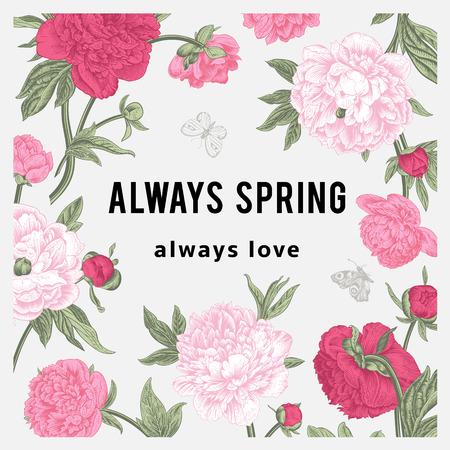 Vintage vector floral card. Peonies. Always spring