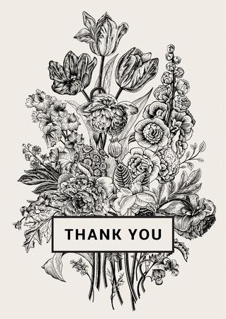 cartoline vittoriane: Vintage carta floreale. Bouquet vittoriana. Peonie in bianco e nero, malva, delphinium, rose, tulipani, viole, petunia. Grazie. Illustrazione vettoriale. Monocromatico. Vettoriali