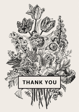 Vintage floral card. Victorian bouquet. Black and white peonies, mallow, delphinium, roses, tulips, violets, petunia. Thank you. Vector illustration. Monochrome.