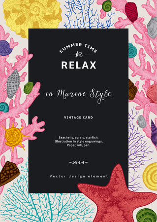 starfish: Relax. Summer rest. Vintage card. Black frame with seashells, coral and starfish. Colorful vector illustration in sea style.