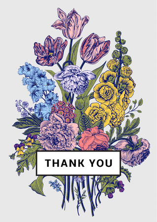 Vintage floral card. Victorian bouquet. Colorful peonies, mallow, delphinium, roses, tulips, violets, petunia. Thank you. Vector illustration. Stock Illustratie