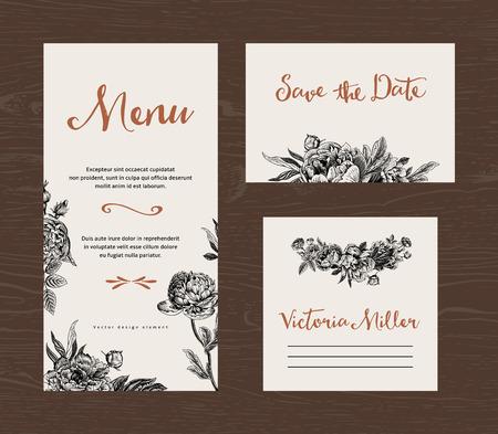 blanc: Mariage réglé. Menu, faites gagner la date, la carte d'hôte. Fleurs noires et blanches de pivoines et de roses. Vintage vector illustration. Illustration