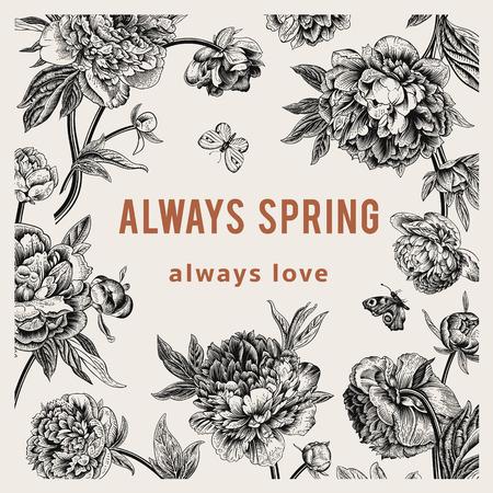 always: Vintage vector floral card. Peonies. Always spring
