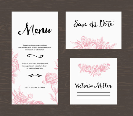 Wedding set. Menu, save the date, guest card. Pink flowers peonies and roses. Vintage vector illustration.