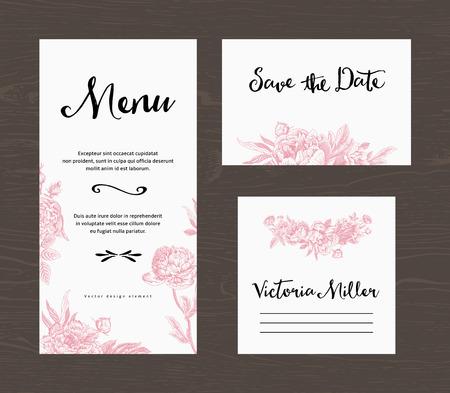 speisekarte: Hochzeit. Menu, datum, Gästekarte. Rosa Blüten Pfingstrosen und Rosen. Weinlese-Vektor-Illustration.